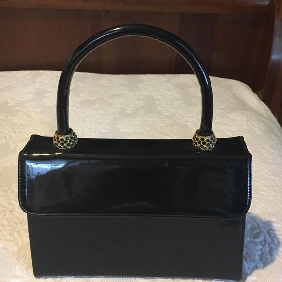 Vintage Handbags - Vintage Black Patent Leather Box Bag
